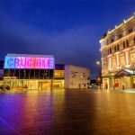 Crucible Theatre lit up at night