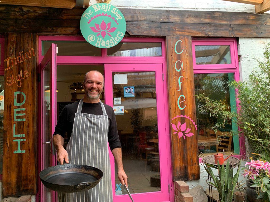 Owner Matt Holdsworth standing outside Bhaji Shop