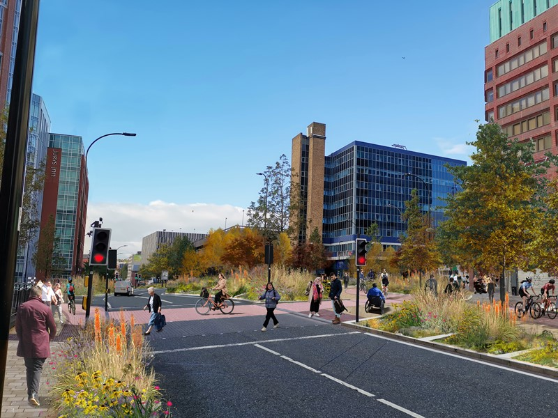 Visualisation: the removal of Furnival Gate roundabout would allow for better and safer cycling and walking routes.