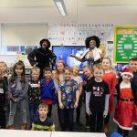 Stocksbridge Nursery Infant School with the Panto Cast (Photo – Carrie Askew)